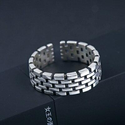 925純銀戒指銀飾~ 有型城牆紋 母親節生日情人節 女飾品73dx64~ ~~米蘭 ~ ~