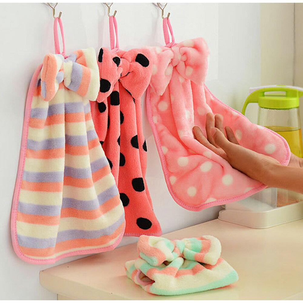 掛式擦手巾 珊瑚絨 擦手 吸水 毛巾 可愛蝴蝶結可掛式珊瑚絨擦手巾 88479