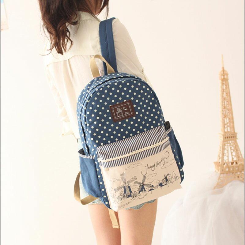 韓版風車系列後背包 旅行背包 學生書包 手提包包 --夏日時光