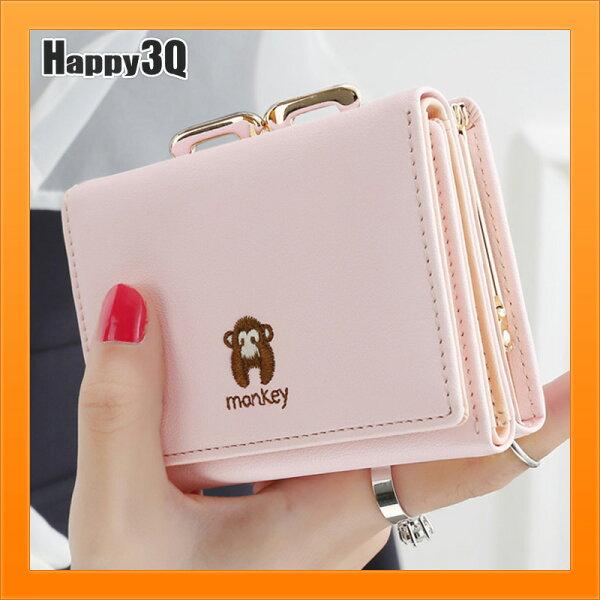 小錢包短夾女士錢包短款錢包零錢包卡片收納零錢夾-米黑紫青綠桃粉【AAA4162】