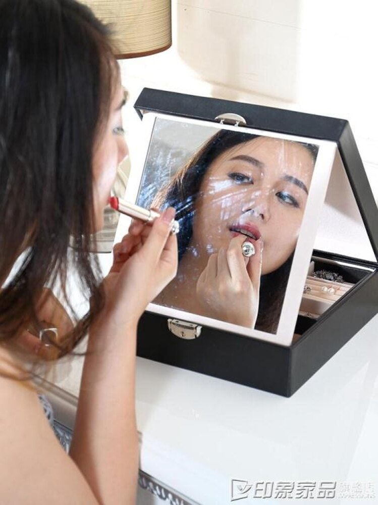 歐式木質首飾盒 韓國公主戒指項錬耳釘化妝盒 帶鏡帶鎖飾品收納盒
