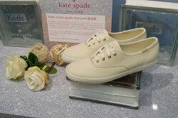 Keds x kate spade NEW YORK 聯名款 白色 奶油白 全白 皮革 荔枝皮 緞帶鞋帶 限時贈送Keds購物袋