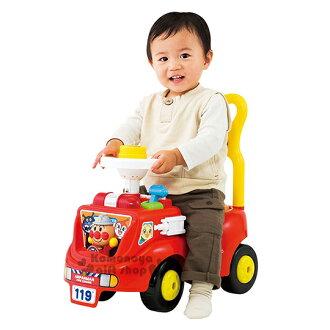 〔小禮堂〕麵包超人 日製消防車造型學步車玩具《紅.盒裝.造型人物》適合1.5~5歲兒童