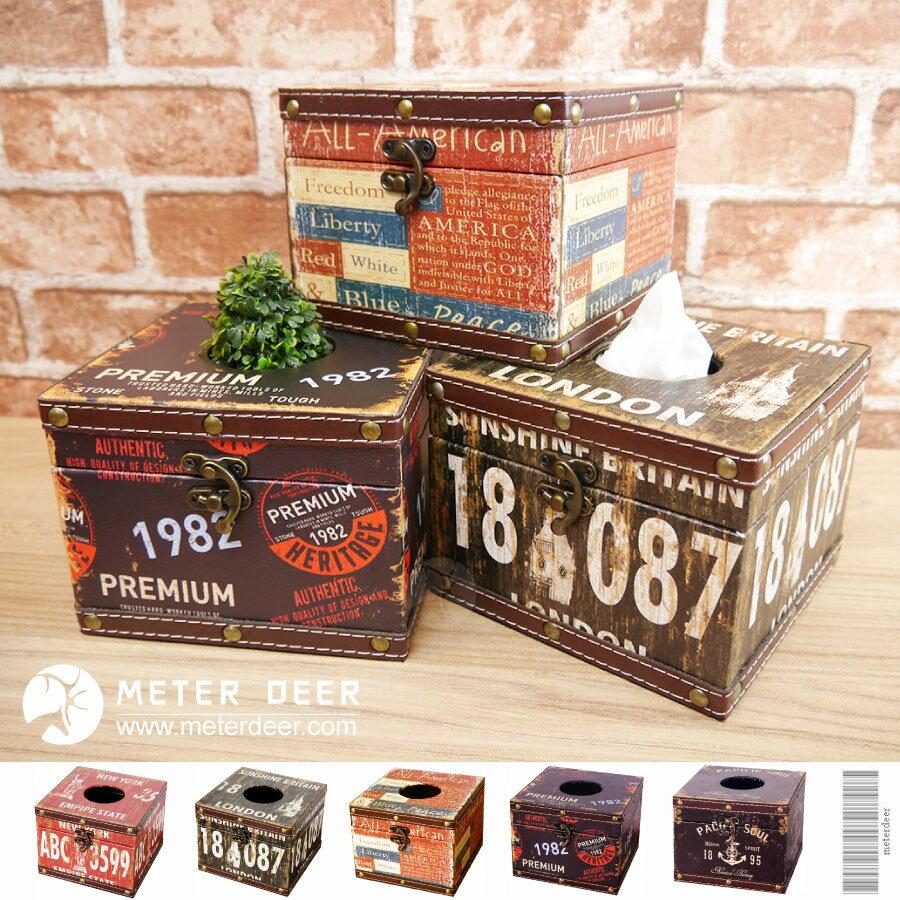 美式工業風正方形面紙盒 復古衛生紙巾盒 木質皮革方型餐巾紙盒 英倫鄉村風格 商空店面咖啡餐廳裝飾擺飾面紙盒