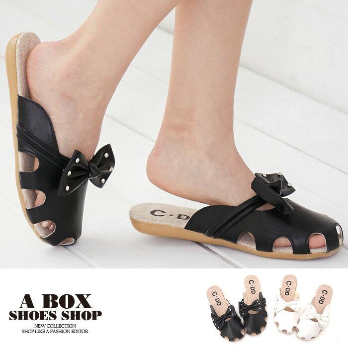 【ASA04】圓頭拖鞋 可愛水鑽蝴蝶結 PU皮革材質 耐磨膠底 2CM跟高 2色
