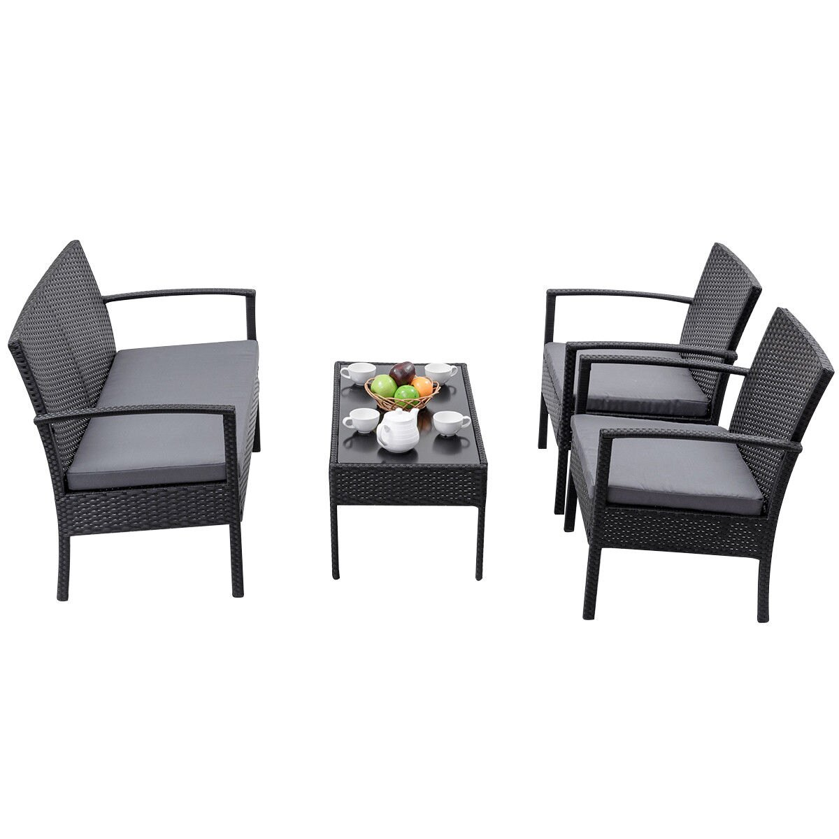 Costway 4 PCS Outdoor Patio Rattan Wicker Furniture Set Table Sofa Cushioned Deck Black 3