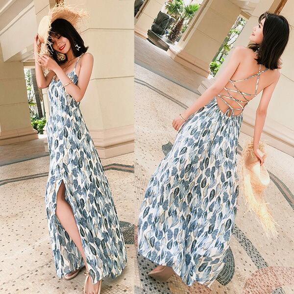 PS Mall 沙灘度假仙波西米亞露背連身裙 洋裝【T365】 2