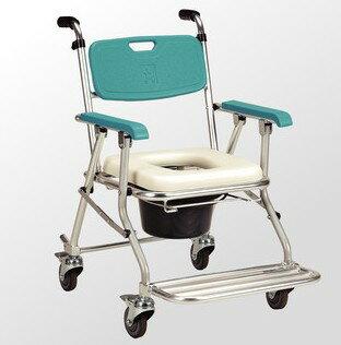 [熊賀康醫材] JCS-208 鋁合金可收合有輪洗澡便器椅/