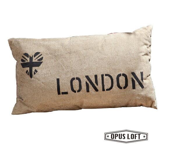 純真年代Opus Loft:復古工業風LONDON字母抱枕