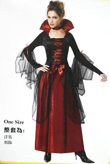 X射線【W380158】黑馬甲吸血鬼,死神/巫婆/尾牙/萬聖/聖誕/大人變裝/cosplay/表演/攝影/寫真/德古拉/話劇/皇后