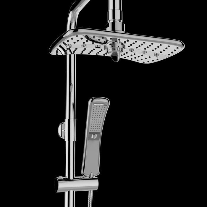 4 Setting Waterfall Rainfall ABS Chrome Shower Head Wand Combo 1