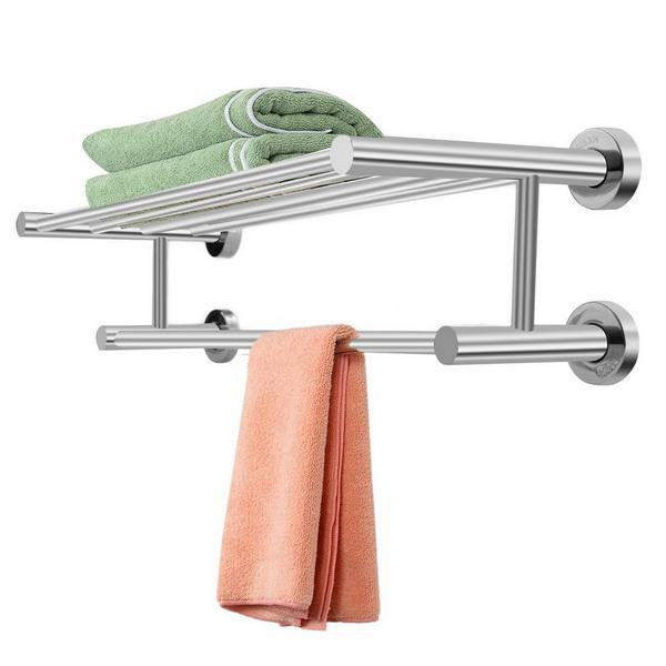 Stainless Steel Bathroom Wall Mounted Towel Rack Holder Dual Row Shelf 2