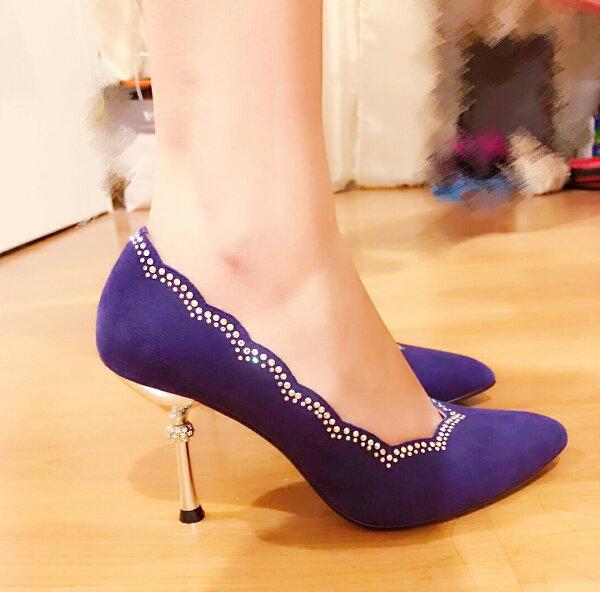爵色迷人浪漫 滾邊妝點水鑽 奢華優雅婚宴鞋 女伶晚宴鞋必敗款 台灣製造手工鞋