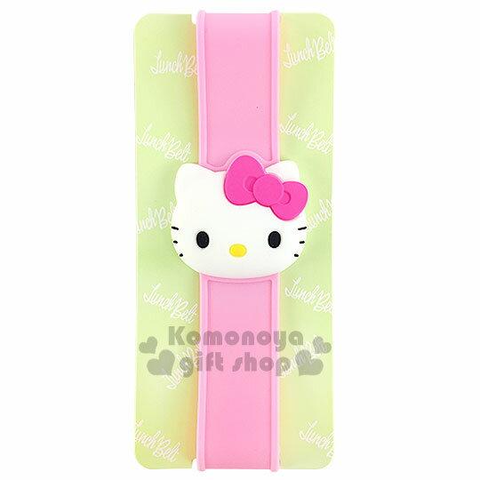 〔小禮堂〕Hello Kitty 矽膠便當盒束帶《粉.立體大臉》最大周圍長度30cm
