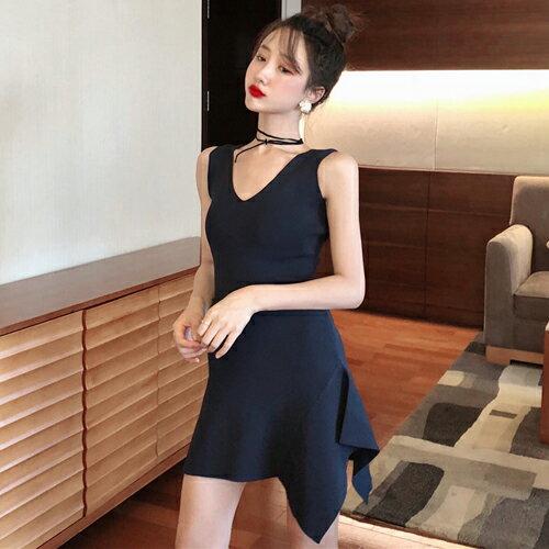 PS Mall V領緊身針織彈力連身裙不規則下擺甜美短洋裝【T718】 1
