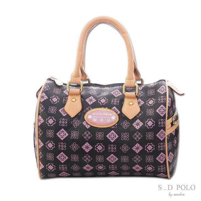 【sandia POLO】MONOGRAM緹花-法式清甜手提波士頓包【S760-03M2】-粉紫色-Z0005