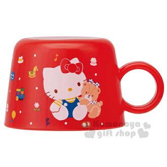 〔小禮堂〕Hello Kitty 寶特瓶專用杯蓋《紅.坐姿.點點.140ml》80年代系列