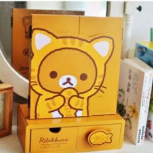 美麗大街【106011904】拉拉熊 小貓造型桌面置物收納箱