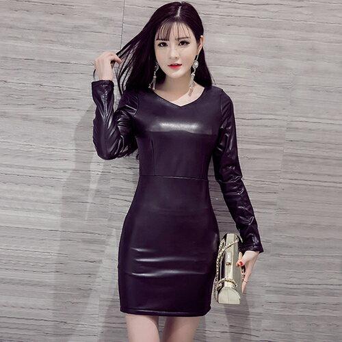 《 任選2件55折》*ORead*韓版pu皮桃心領修身性感時尚連衣裙皮裙(黑色XL) - 限時優惠好康折扣