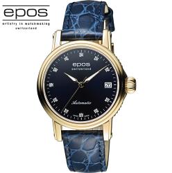 EPOS 都會時尚真鑽機械女錶 4390.152.22.86.16FB 藍x金框/34mm