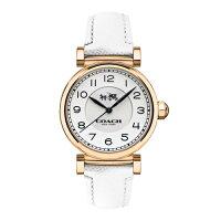 送女生聖誕交換禮物到COACH 耀眼迷人時尚腕錶/玫瑰金x白皮/14502408 女生聖誕交換禮物
