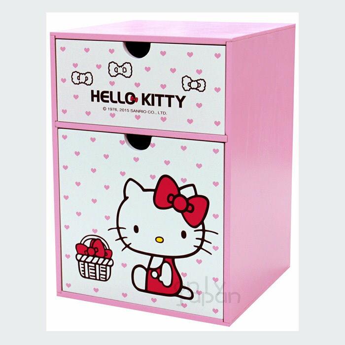 【真愛日本】18020200001 直式兩抽屜置物盒-KT蝴蝶結花粉 三麗鷗kitty凱蒂貓 抽屜櫃 置物櫃 木製