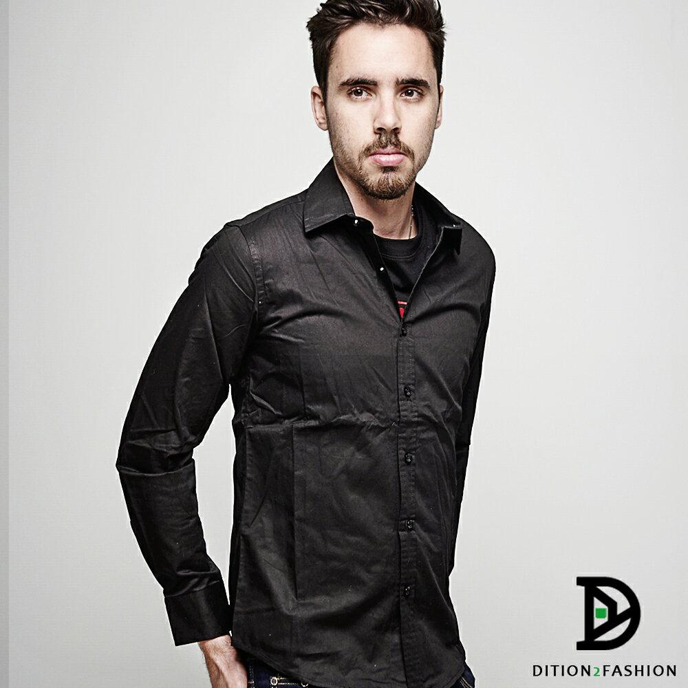 DITION 職人FIT腰身素色長袖襯衫 商務紳士 2