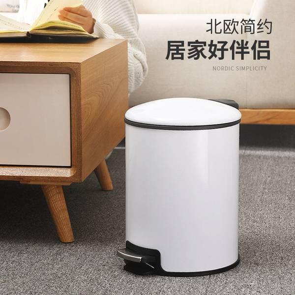 歐式 垃圾桶 家用 客廳 臥室 衛生間 廚房 創意有蓋大號不鏽鋼腳踏式帶蓋