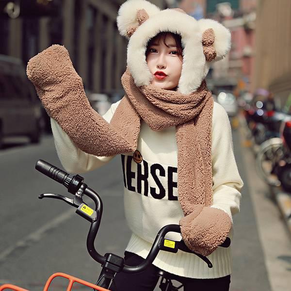 韓國帽子圍巾一體手套三件套女冬天連帽韓版百搭冬季皮草加厚保暖