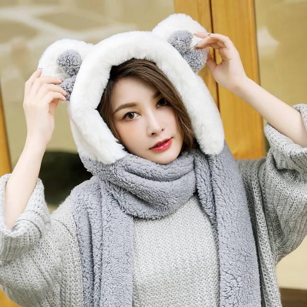 帽子女秋冬休閒百搭秋季韓版甜美可愛潮流秋天兒童圍巾手套三件套