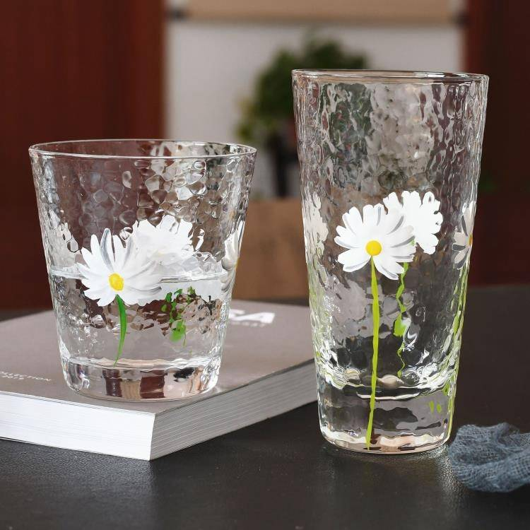 日式手繪小雛菊錘紋杯菊花果汁杯小清新耐熱玻璃杯晾水壺