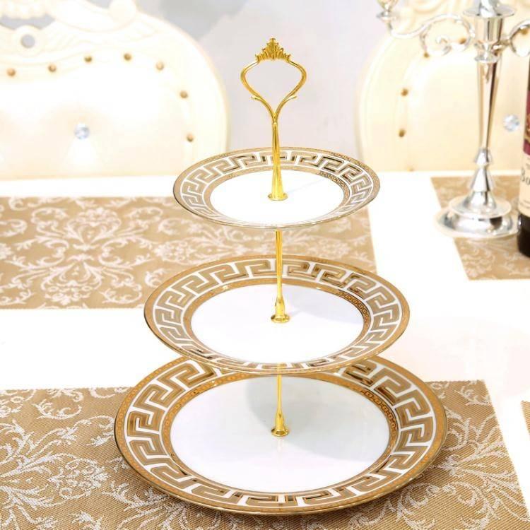 歐式陶瓷水果盤客廳創意現代玻璃蛋糕三層托盤子家用下午茶點心架