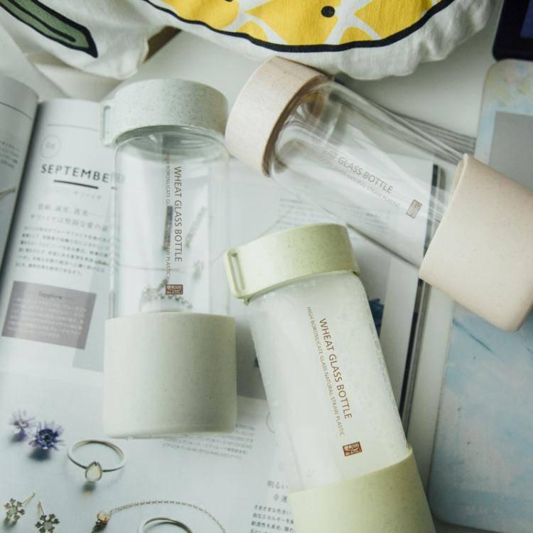 清新文藝玻璃杯創意潮流水瓶簡約男女學生韓國便攜家用水杯子