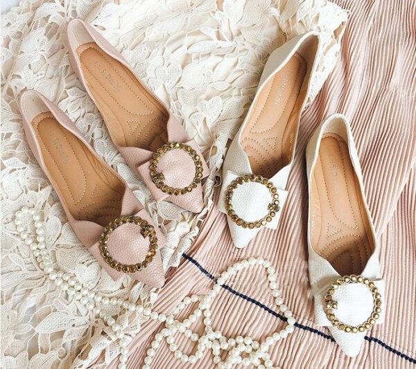 Pyf♥古銅金屬圓型飾釦粗皮紋尖頭軟皮平底淺口上班便鞋43大尺碼女鞋