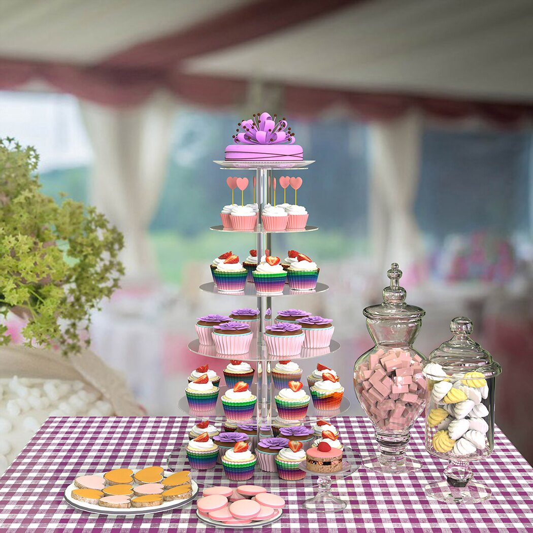 6 Tier Acrylic Round Transparent Cake Stand For Wedding Party Birthday Display 1