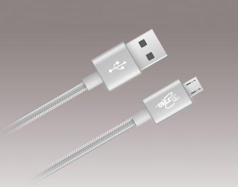T.C.STAR 1.2M鋁合金編織高速Micro USB 2.0充電/傳輸線-TCW-U2120SR 銀/灰兩色可選