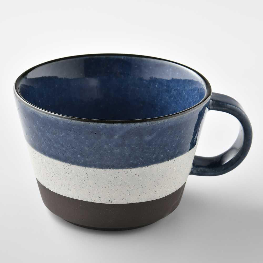 【日本Tojiki Tonya】美濃土岐泉 湯杯 馬克杯 咖啡杯 500ml 藍白色 -618年中慶