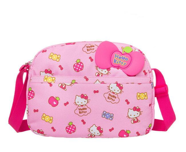 【真愛日本】16031500004童用側背包-蘋果棉花糖粉 KITTY 凱蒂貓 三麗鷗 包包 兒童用側背包 收納