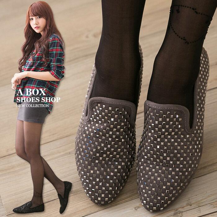 格子舖*【KF868-9】率性金屬鉚釘風 質感絨布舒適柔軟鞋墊 平底包鞋 樂福鞋 懶人便鞋 2色 0