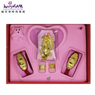 彌月金飾禮盒 1錢 米奇與米妮湯匙禮盒 送禮推薦款