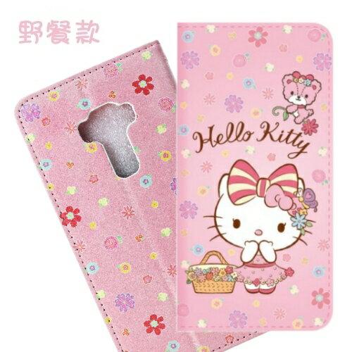 【Hello Kitty】ASUS ZenFone 3 (ZE552KL) 5.5吋 戀愛系列彩繪可站立皮套(野餐款)