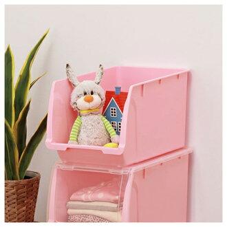 窄型堆疊收納籃 FLATTE HALF K PI 粉紅色 無蓋