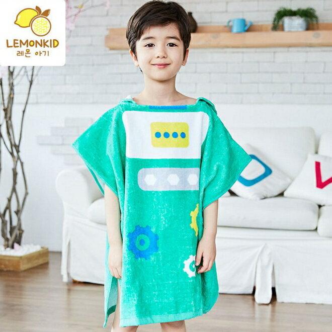Lemonkid◆可愛機器人卡通造型圖案兒童浴巾浴袍-綠色