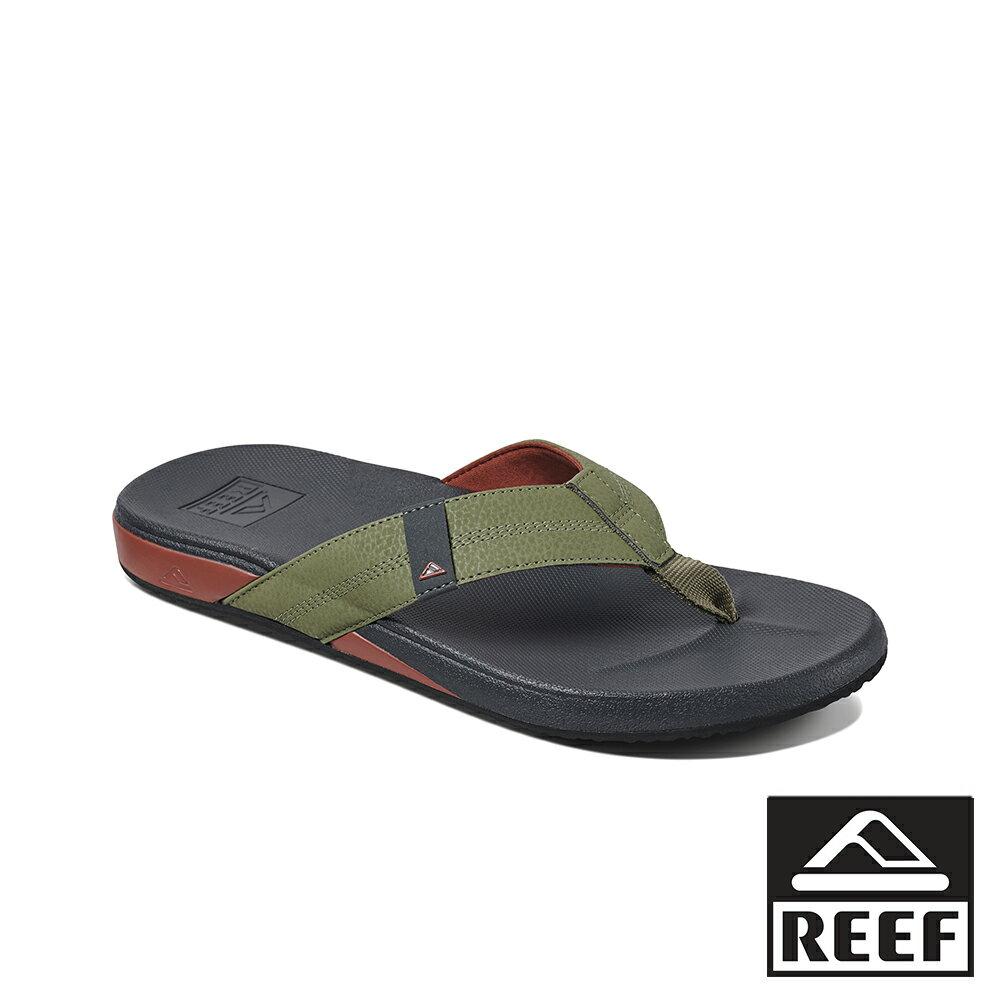 【新品上市】REEF 能量彈力 側邊縫製織帶 男款夾腳人字拖鞋 . 綠 / 紅 RF0A3FDIORE 0