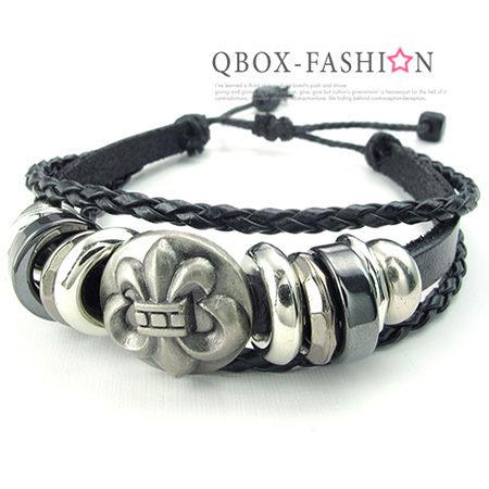 《 QBOX 》FASHION 飾品【W10024407】精緻個性復古克羅心十字架合金皮革手鍊/手環(黑色)