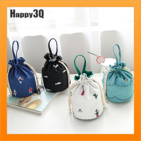 手提包帆布包簡約女生手拿包可愛風束口袋束口包隨身手拿包-白青藍黑【AAA4620】
