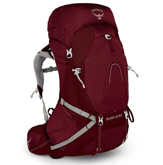 【Osprey 美國】AURA AG 50 輕量登山背包 自助旅行 健行背包 網架背包 女款 輻射紅〈容量47L〉/AuraAG50