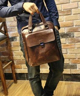 FINDSENSEZ1韓國時尚潮男皮質多功能豎款商務單肩包手提包斜背包側背包電腦包