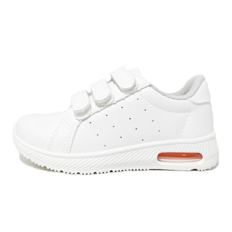 【滿額領券↘折$120】童款皮質氣墊黏貼休閒鞋 小白鞋 [18106] 白 MIT台灣製造【巷子屋】