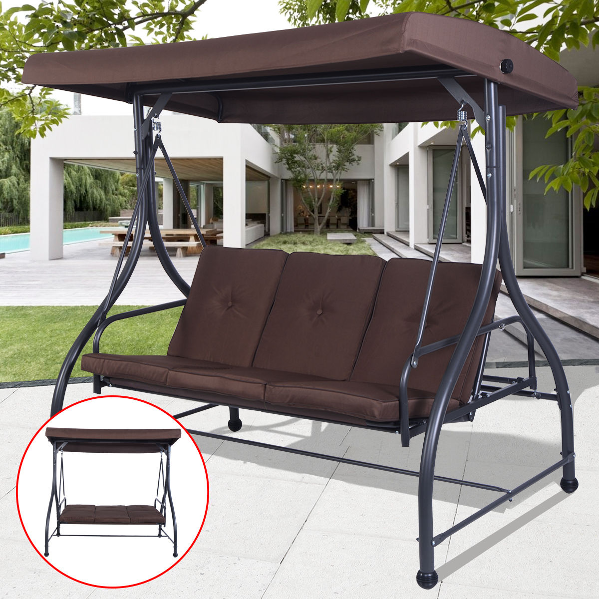 Costway Converting Outdoor Swing Canopy Hammock 3 Seats Patio Deck  Furniture Brown 0